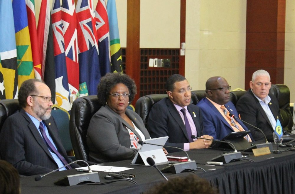 Announcing the major outcomes at the Summit's Closing Press Conference: (l-r) Secretary-General Ambassador Irwin LaRocque; Barbados Prime Minister Mia Mottley; CARICOM Chairman, Prime Minister Andrew Holness of Jamaica; St Kitts and Nevis Prime Minister Dr Timothy Harris; Saint Lucia's Prime Minister Allen Chastanet