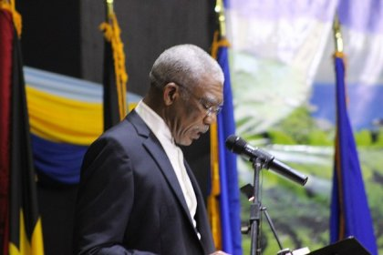 Outgoing Chairman of CARICOM, His Excellency David Granger, President of Guyana, delivering his address to the Conference